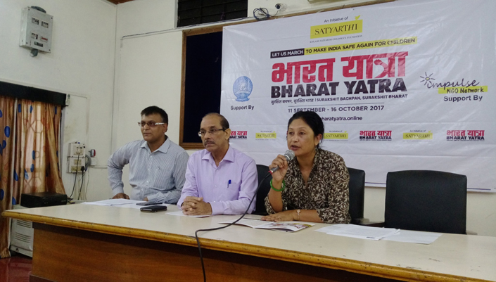 10/09/2017, Guwahati: Speaking at a Press Conference on Bharat Yatra, aimed at making India Safe Again for its children, with a campaign against Child Sexual Abuse