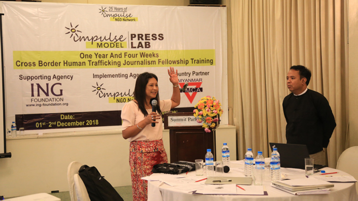 11/02/2018, Myanmar: Speaking at the Afternoon Session of the Impulse Model One-Year and Four-Week Cross-border Human Trafficking Journalism Fellowship