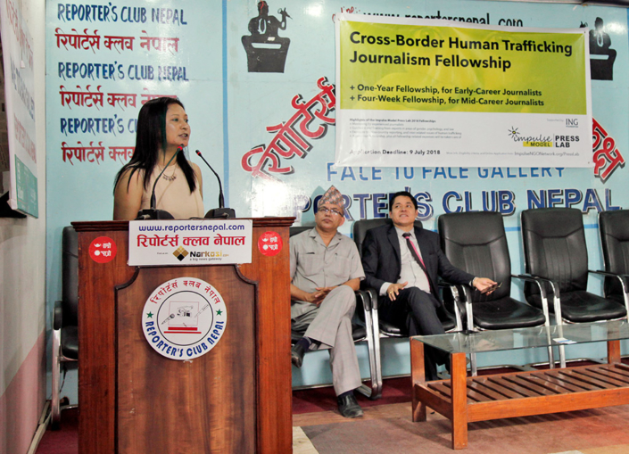 26/06/2018, Nepal: Addressing a Press Conference on the Impulse Model Press Lab
