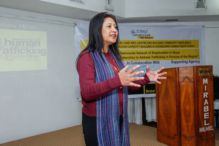 07/01/2018, Nepal: Speaking at a training to create a network of stakeholders in Nepal along with International Collaboration to address trafficking-in-persons in the region