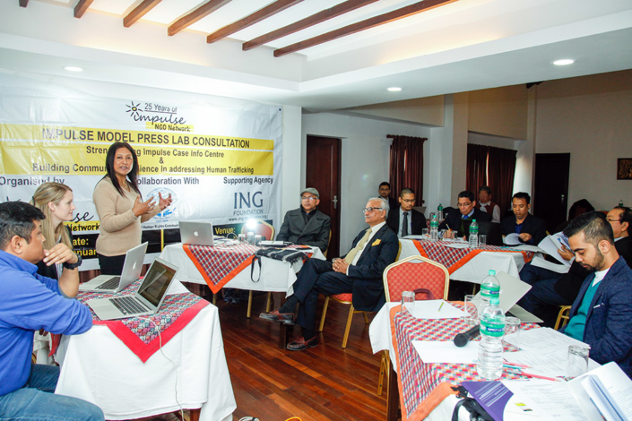 11/01/2018, Nepal: At an Impulse Model Press Lab Consultation on how to Strengthen the Impulse Case Info Centre and build Community Resilience in addressing Human Trafficking