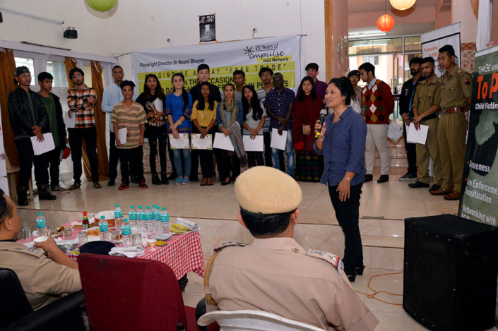 "31/07/2017, Shillong: Addressing the play ""Free Trade"" as part of a Global Campaign on World Day against Trafficking-in-persons, in collaboration with Meghalaya Police Anti Human Trafficking Unit"