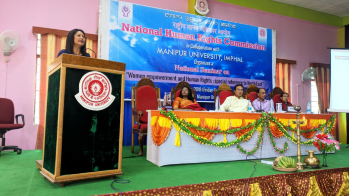 18/05/2018, Manipur: Speaking at the Nation Seminar on Women Empowerment and Human Rights, organized by the National Human Rights Commission in collaboration with Manipur University