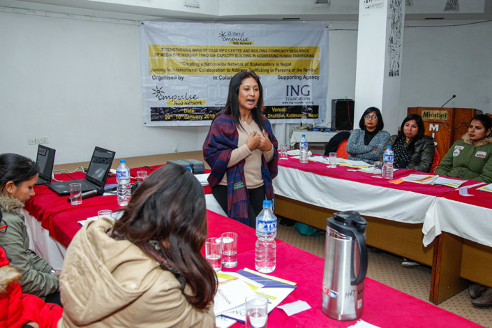 09/01/2018, Nepal: Addressing a conference on Creating a Nationwide Network of Stakeholders in Nepal, with international collaboration to address trafficking-in-persons in the region